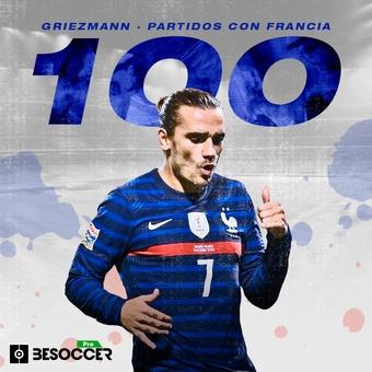 Griezmann cumple 100 partidos con Francia, 11/10/2021