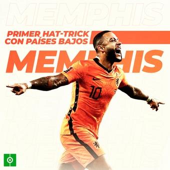Memphis anotó su primer hat-trick con Países Bajos, 08/09/2021