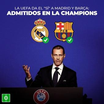 La UEFA admite al Madrid y Barça en Champions, 15/06/2021