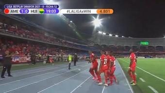 Larry Angulo se estrena como goleador y pone al América en 'play off'. Captura/WinSports