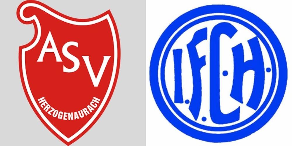 A la izquierda, escudo del ASV Herzo; a la derecha, escudo del FC Herzo. BS
