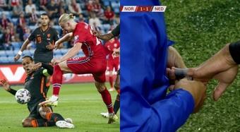 Precioso duelo entre Haaland y Van Dijk. AFP/Captura/NOS