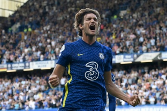 Marcos Alonso opened the scoring for Chelsea with a stunning free-kick. AFP
