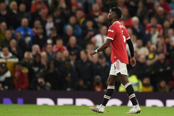 Paul Pogba was sent off just before the hour mark. AFP