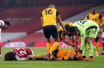 Raul Jimenez n'en veut pas à David Luiz pour sa grave blessure à la tête. AFP