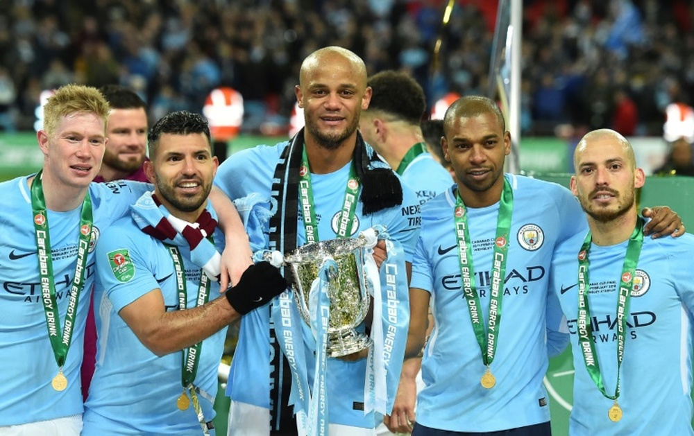 Silva, Agüero and Kompany will have statues at the Etihad. AFP