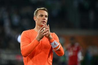 Manuel Neuer s'est présenté à la conférence de presse. AFP