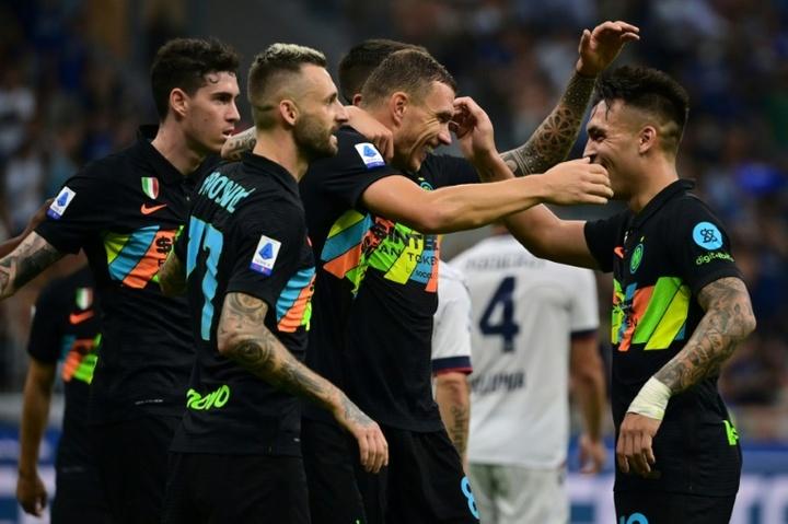 Inter está provisoriamente na liderança da Serie A. AFP