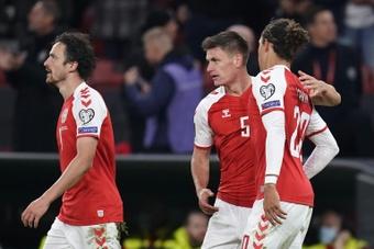 A Seleção Dinamarquesa conseguiu os três pontos contra a Áustria. AFP