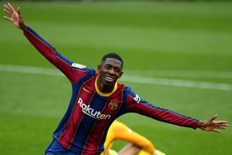 El contrato de Dembélé con el Barça acaba este verano. AFP