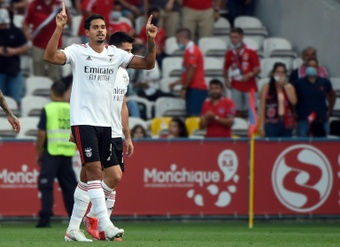 Benfica's Lucas Verissimo was shown the third red card of his career. AFP