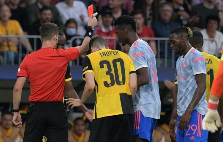 Wan-Bissaka was sent off against Young Boys. AFP