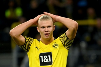 Erling Haaland is not happy with Rose. AFP