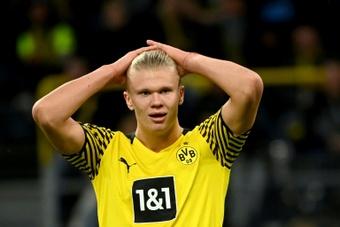 Se dice que Erling Haaland no está contento. AFP/Archivo