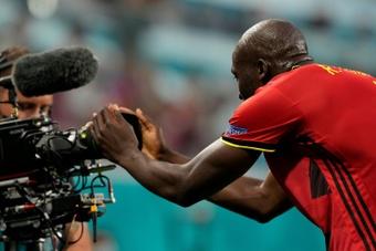 Lukaku le dedicó uno de sus goles en la Eurocopa a Eriksen. AFP