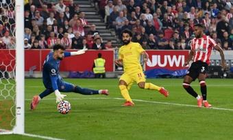 David Raya cautivó a Jürgen Klopp en el Brentford-Liverpool. AFP