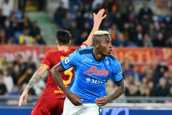 Victor Osimhen had a goal disallowed in Napoli's draw at Roma. AFP