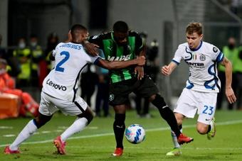 le défenseur néerlandais de l'Inter Milan, Denzel Dumfries. AFP