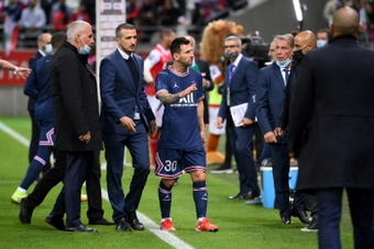 Messi debutó con el PSG frente al Reims. AFP