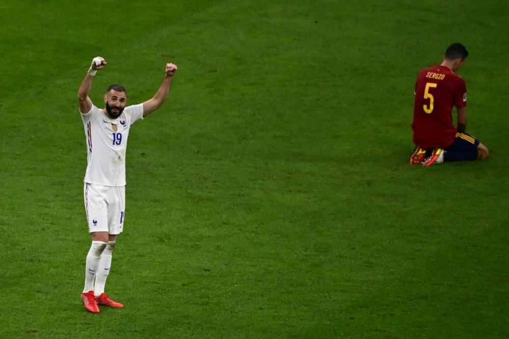 Le but de Benzema contre l'Espagne élu but de la Ligue des Nations. AFP