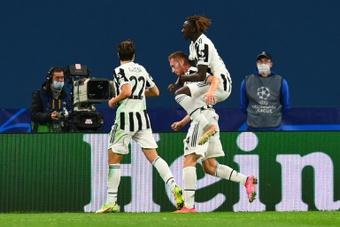 L'attaquant suédois Dejan Kulusevski de la Juventus Turin célèbre son but. AFP