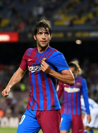 La joie du défenseur de Barcelone Sergi Roberto, après avoir marqué. AFP