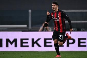 Brahim, encantado con su rendimiento en el Milan. AFP