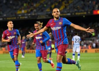 Martin Braithwaite scored twice as Barcelona beat Real Sociedad. AFP