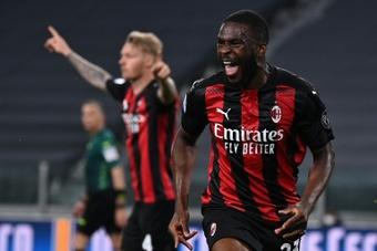 La joie du défenseur anglais de l'AC Milan, Fikayo Tomori. AFP