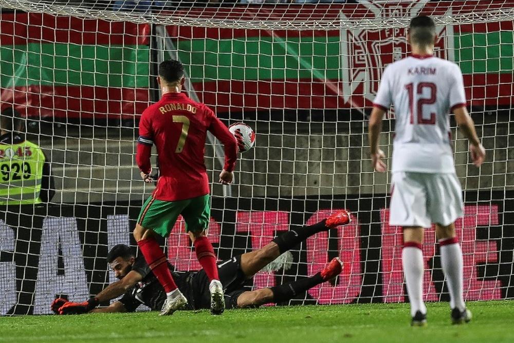 Cristiano Ronaldo ouvre le score pour le Portugal lors du match amical contre le Qatar. AFP