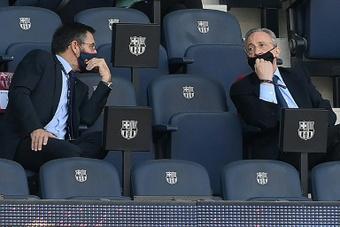 Florentino arrived in Barcelona on Sunday. AFP