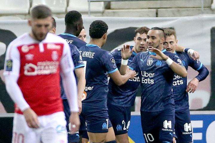 El Olympique de Marsella venció al Stade Reims 1-3. AFP