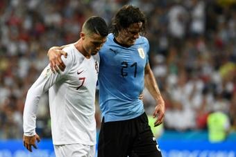 Ronaldo ringrazia pubblicamente Cavani. AFP