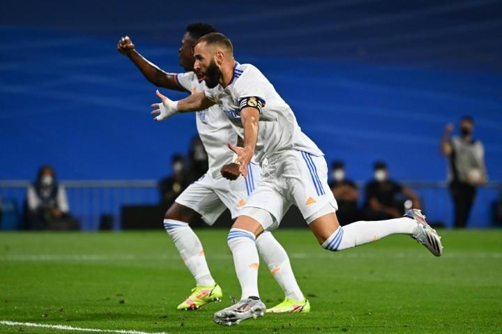 Karim Benzema scored a hat-trick versus Celta Vigo. AFP