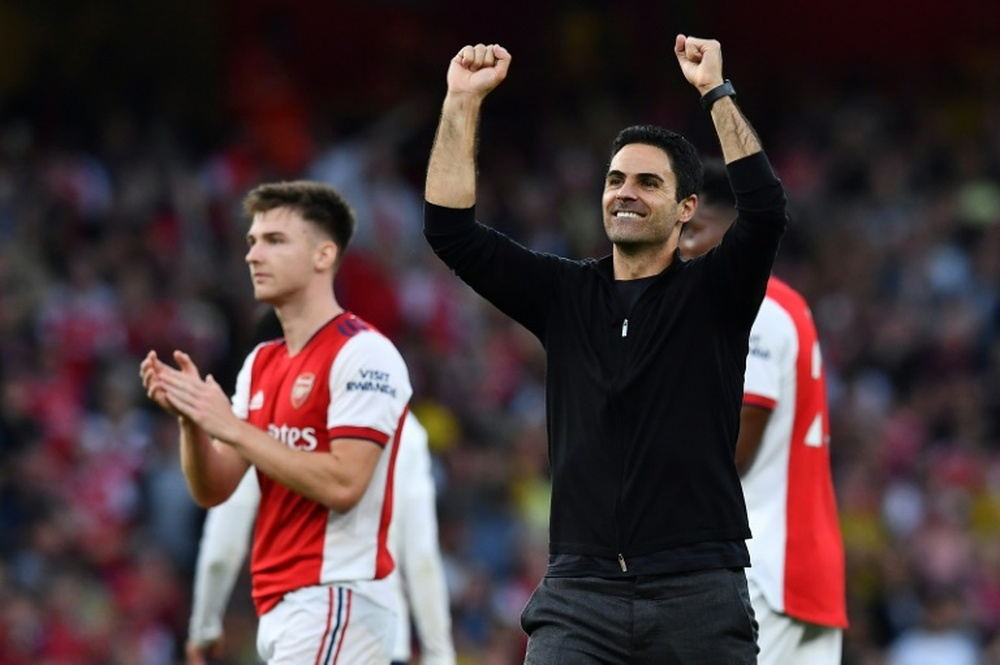 Mikel Arteta wins PL Manager of the Month. AFP