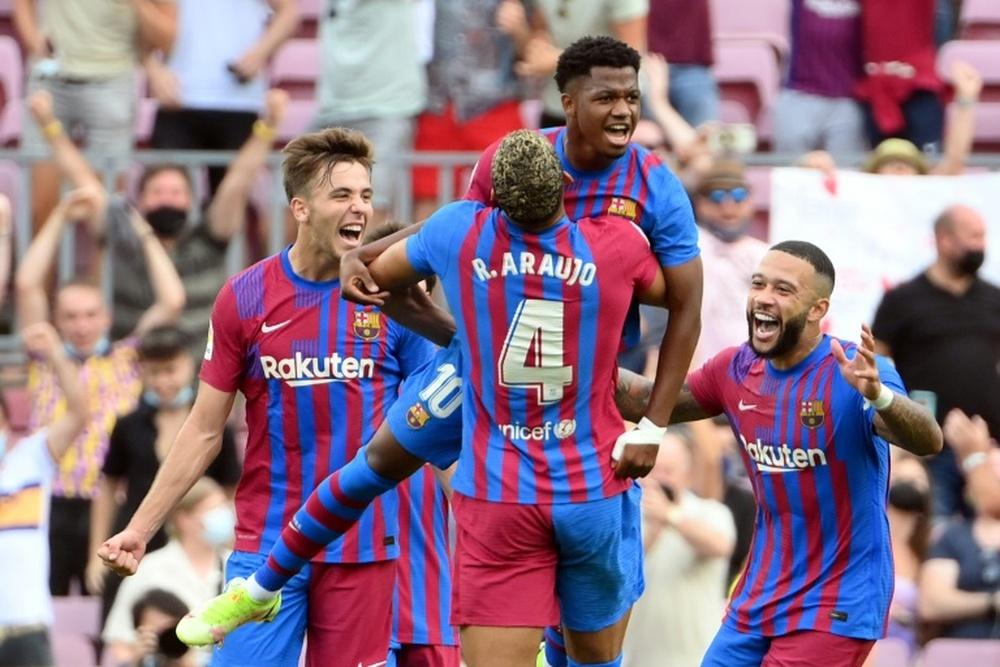 Ansu Fati solo piensa en el Barça. AFP