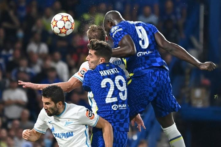 Lukaku deu a vitória para o Chelsea por 1 a 0 contra o Zenit. AFP