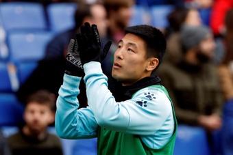 Wu Lei cumplió 100 partidos con el Espanyol ante Osasuna. EFE