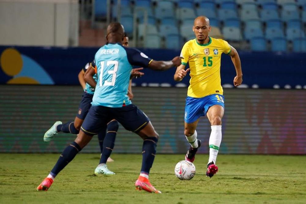 Fabinho projeta o duelo contra o Uruguai. AFP