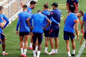 Simeone s'est adressé aux médias avant la réception de la Real Sociedad. EFE