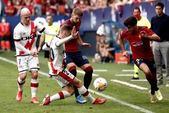 Manu Sánchez dio la victoria 'in extremis' a Osasuna. EFE