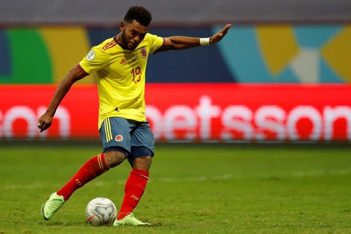 Miguel Borja não defenderá a Colômbia nessa Data FIFA.  EFE/Fernando Bizerra