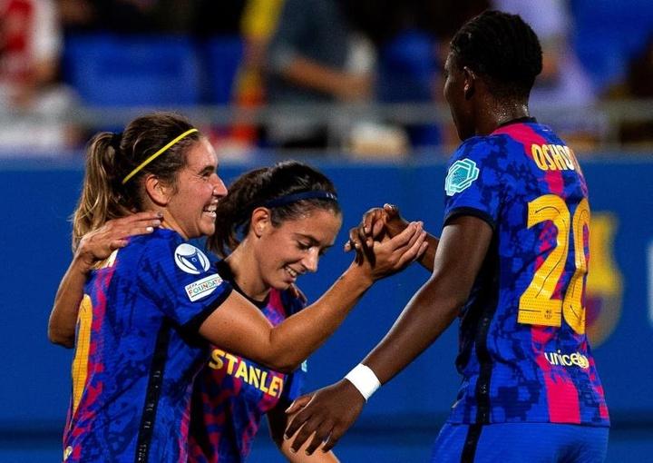 Lieke Martens anotó el cuarto tanto del Barça. EFE
