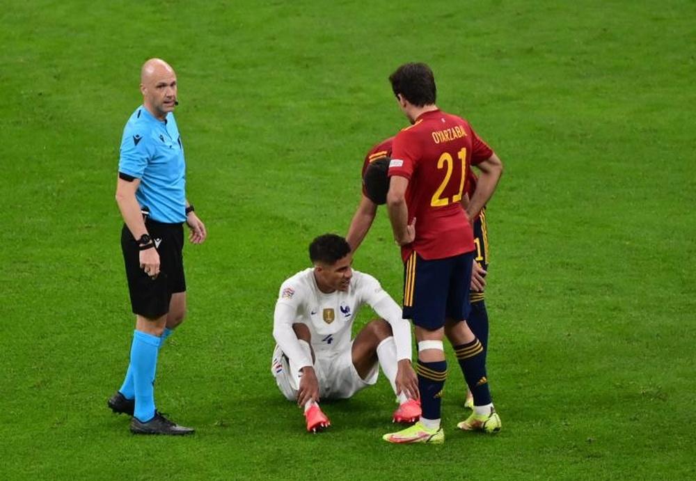 Varane sort sur blessure contre l'Espagne. afp