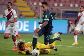 El goleador Lautaro, contento con la actuación de Argentina. EFE