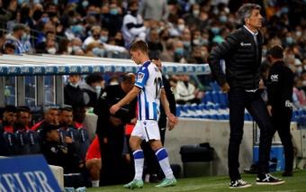 Aihen Muñoz est suspendu pour la prochaine rencontre face à l'Atlético. EFE/Juan Herrero