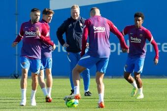 Le groupe du Barça pour le Clasico. EFE