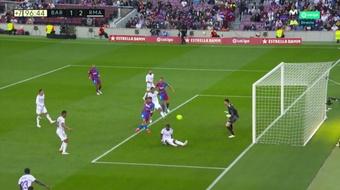 Sergio Aguero scored as Barcelona lost 1-2. Screenshot/MovistarLaLiga