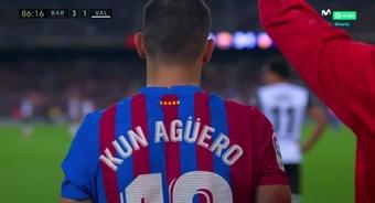 Sergio Agüero a fait ses débuts avec le Barça. Capture/MovistarLaLiga