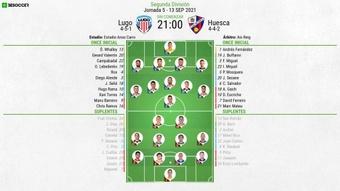 Alineaciones confirmadas del Lugo-SD Huesca. BeSoccer